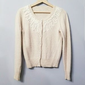 Sweaters - Oatmeal Angora Cardigan with Pearl Beads  S/M